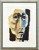 Guayasamín, OswaldoCabeza (Kopf)(Quito/Ecuador 1919-1999 Baltimore) Aquarell, Tusche/Papier.