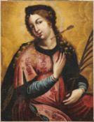 Heilige Ursula von KölnDeutschland, 18. Jh.Mit ihrem Märtyrerattribut, dem Pfeil, im Hals und