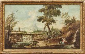 Pendants mit idyllischen, italienischen Landschaften20. Jh., nach Vorbild des 17. Jh.Öl/Lwd. 60,5
