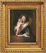 Mutter mit KindDeutscher Impressionist des späten 19. JahrhundertsÖl/Holz. 28 x 21,5 cm.