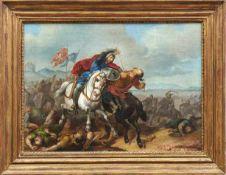 Türkische ReiterschlachtDeutsch-Römer, 19. Jh.Böhmisch-mährische Standarten im Hintergrund. Öl/