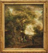 Fürstenpaar beim AusrittDeutsche Schule, 18. Jh.Öl/Lwd. 64 x 53 cm. - Dieses Los wurde mit der