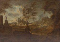 KüstenlandschaftItalien, 18. Jh.Blick von einer Anhöhe mit Skulptur auf eine Küste mit Dörfern und