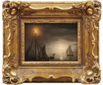 Schendel, Petrus (Pieter) vanKüste mit Segelbooten im Licht eines Leuchtturms und des Vollmonds(