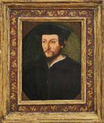 Bildnis eines Herren mit Bart und BarettA. 17. Jh.Öl/Holz, parkettiert. 24 x 18 cm; in vergoldeten