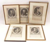 Fünf Portraitstiche Würzburger Bischöfe18. Jh.Jeweils Brustbild im Oval mit Wappen, darunter
