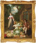 Angelis, Pieter van (Attrib.)Gemüsestand(Dünkirchen 1685-1734 Rennes) Vor einer Hütte sitzender,