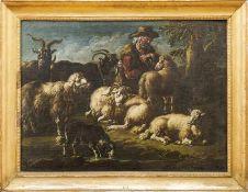 Roos, Cajetan (Attrib.)Hirte mit seinen Tieren in Landschaft ruhend(Rom 1686/90-1770 Wien) Öl/Lwd.