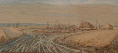 Kleines Landschaftsbild mit einsamem GehöftRussischer Maler des 20. JahrhundertsAquarell. Rechts
