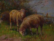 Holz, Johann DanielWeidende Schafe(Bremen 1867-1945 Fürstenfeldbruck) Öl/Pappe. Links unten sign.