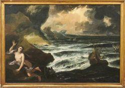 Pendants mit Poseidon und AndromedaRömische Schule des 17. JahrhundertsBei stürmischer See sieht man