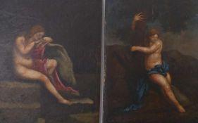 Zwei allegorische Aktdarstellungen18. Jh.Öl/Holz. 16 x 12 cm; ungerahmt.