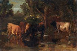 Friedrich Voltz, Kühe an der Tränke. Mitte 19. Jh. Friedrich Voltz 1817 Nördlingen – 1886