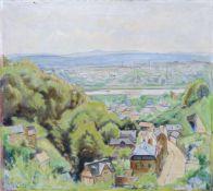 Erich Buchwald-Zinnwald, Dresden - Blick von der Grundstraße. 1951. Erich Buchwald-Zinnwald 1884
