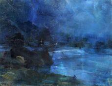 Arno Drescher, Nächtliche Flusslandschaft. Mitte 20. Jh. Arno Drescher 1882 Auerbach/Vogtland – 1971