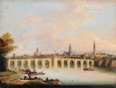 Unbekannter Maler, Dresden - Blick auf die Altstadt mit der Augustusbrücke. 1730 – 1740. Öl auf