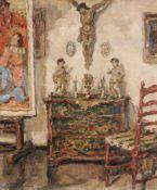 Wilhelm Blanke, Interieur mit Kruzifix und Staffelei. 1. H. 20. Jh. Wilhelm Blanke 1873 Unruhstadt/