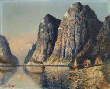 "H. F. Elmblad ""Hardanger Fjord"". Wohl um 1900. H. F. Elmblad Erste Erw. 1881 – letzte Erw. 1890Öl"