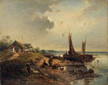 A. Modinger, Ufer mit Bootsanleger, Hütte und Fischersleuten. Spätes 19. Jh. A. Modinger 19. Jh.Öl