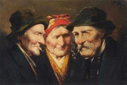 "E. Manzing (?), Drei Köpfe. Wohl Ende 19. Jh. Öl auf Leinwand. Signiert ""E. Manzing"" (?) o.re. Verso"