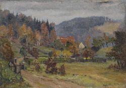 Siegfried Donndorf, Landschaft im Erzgebirge. 1954. Siegfried Donndorf 1900 Salbke bei Magdeburg –