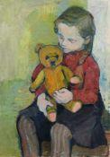 Christa Engler-Feldmann, Mädchen mit Teddybär. 1960. Christa Engler-Feldmann 1926 Chemnitz – 1997
