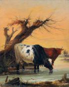 Anton Jahn, Zwei Kühe in der Furt. 1837. Anton Jahn 1810 Koblenz – 1841 KoblenzÖl auf Holz. Signiert