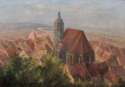 Georg Bernkopf, Blick von Schloss Sonnenstein über Pirnaer Altstadt mit Marienkirche. 1924. Georg