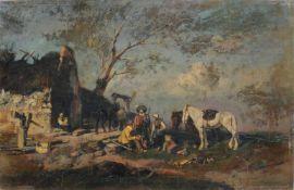 Alfred Friedländer, Ländliche Szene mit rastenden Jägern. Ende 19. Jh. Alfred Friedländer 1860