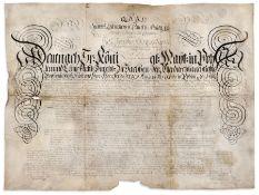 Urkunde zur Erlangung der Doktorwürde des Dr. Jacob Andreas Kuhn, Dresden. 1724. Feder in Tusche auf