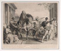 "Étienne Jeaurat ""Mardochoeus cinctus diademate, Vestibus regis indutus, ..."" (Illustration zu"