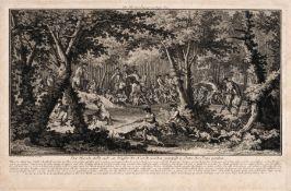 """Johann Elias Ridinger """"Der Hirsch stellt sich im Wasser die Hunde werden gestopfft u. ihme der"""