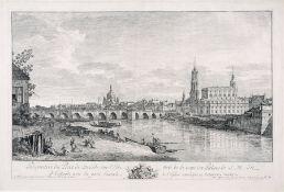 "Bernardo Bellotto, gen. Canaletto ""Perspective du Pont de Dresde sur L' Elbe, - tirée de la veuë"