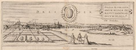 """Franz Hogenberg """"Dresa florentis simum misniae opp. illust: Saxoniae ducum sedes"""". 1572. Franz"""