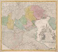 "Johann Baptista Homann ""Dominii Veneti cum vicinis Parmae Mutinae Mantuae et Mirandol"". Um 1720."
