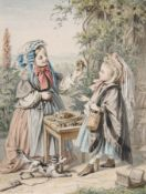Hugo Bürkner, Zwei spielende Mädchen. 1859. Hugo Bürkner 1818 Dessau – 1897 DresdenAquarell und