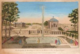 """Französischer Stecher """"Vue Perspective de Morestburg en Saxe, une des Maisons de Chasse du Roy de"""