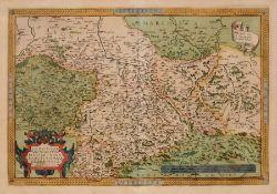 """Abraham Ortelius """"Saxoniae Misniae Thuringiae, nova exactissimaque Descriptio"""". Um 1570. Abraham"""