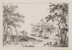 Jean Claude Richard de Saint-Non, Landschaft mit Brücke und Eselstreiber / Gartenlandschaft am
