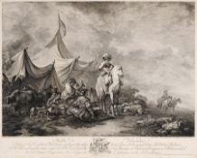 Ferdinand Landerer (nach Giuseppe Francesco Casanova), Zwei Landschaftsdarstellungen mit lagernder