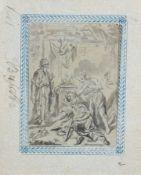 Elias Busch, Figürliche Szene an einem Opferaltar. 1672. Elias Busch Erste Erw. 1677 – letzte Erw.