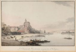 "Johann M. Gottfried Jentzsch ""Le Chateau de Hirschstein auprés de Meißen"". Um 1800. Johann M."