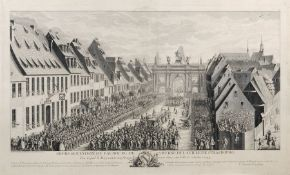 """Jacques Philippe Le Bas nach Johann Martin Weis """"Representation du Faubourg de Saverne, de la"""