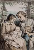 Hugo Bürkner, Familienglück. 1859. Hugo Bürkner 1818 Dessau – 1897 DresdenAquarell und