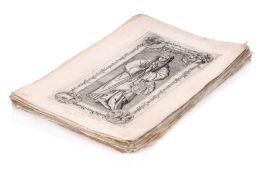 Deutsche Stecher, 56 Darstellungen von Grabplatten, Monumenten und Wappen. 16./17. Jh.