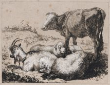 Francesco Londonio, Ochse mit zwei Schafen und einer Ziege. 1762/1763. Francesco Londonio 1723