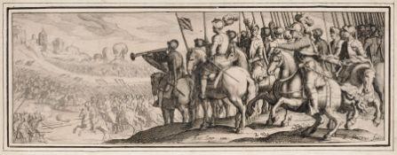 Simon Wynouts Frisius, Schlachtenszene vor Stadtvedute. Wohl um 1610. Simon Wynouts Frisius 1570