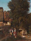 O. Aillaud (?), Zwei Mädchen vor einem bäuerlichen Gut. Mitte 19. Jh. O. Aillaud (?) 19. Jh.Öl auf