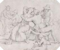Niederländischer Zeichner (in der Art von Adrian Brouwer), Wirtshausszene. Wohl 17. Jh. Adriaen