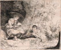 """Rembrandt Harmenszoon van Rijn (Kopie nach) """"Der Flötenspieler"""". 1642. Rembrandt Harmenszoon van"""